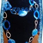 Collana in Agata blu con pietre ovali piene e bucate, rettangolari e tonde piene